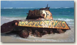 Tank on beach in Spanish Virgin Islands