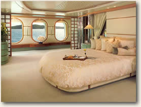 Master Stateroom on Luxury Mega Yacht Charters