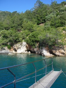 Turkey anchorage in sheltered bay on charter