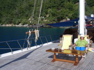 relaxing on deck of Turkey yacht charter