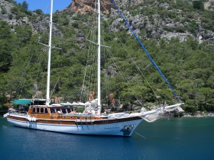 Turkish Gulet motor sailing yacht in Turkey